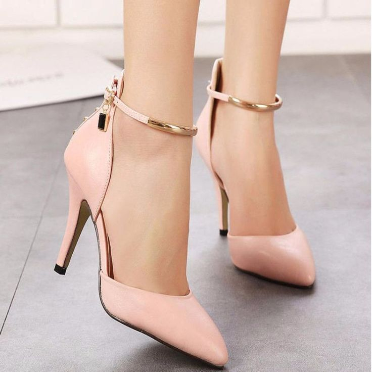 Fashion Pointed Toe Ankle Strap Women High Heels