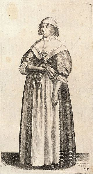 Lady holding gloves. Hollar. Neckerchief and Apron with decorative