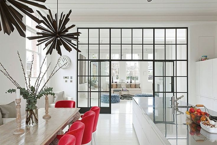 Blake House in London. Red accent color. Indoor windows.   Interior Inspiration