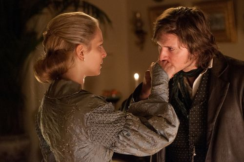 Anastasia Griffith as Elizabeth Haverford and Tom Weston-Jones as Kevin 'Corky' Corcoran inCopper (TV Series, 2012).