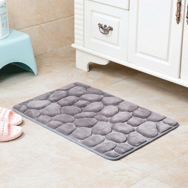 Non Slip Flannel Bath Mat Toilet Floor Mat Water Dust Absorbing