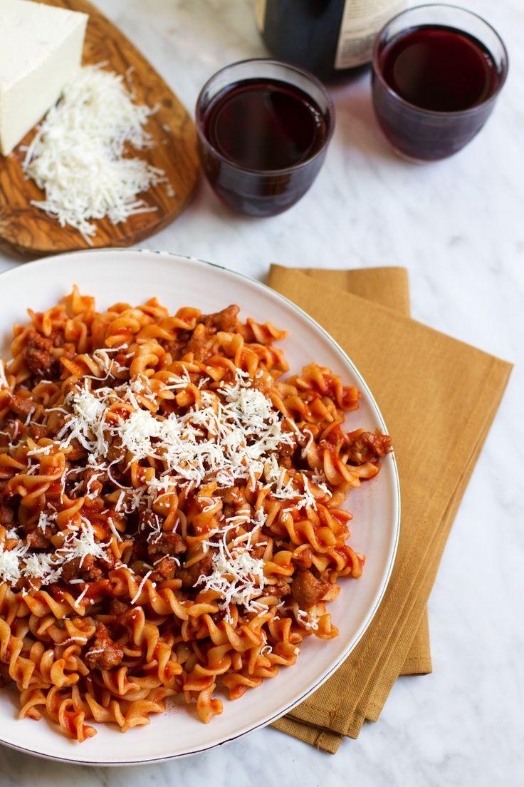 {Fusilli Alla Salsiccia} Pasta With Tomato Sugo, Sausage, and Smoked Cheese | http://saltandwind.com
