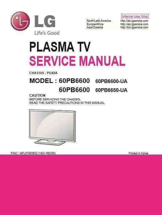 LG 60PB6600 UA Smart Plasma TV original Service Manual and