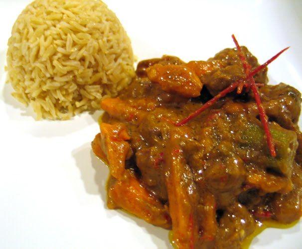 Beninese Beef Stew (beef, curry, potatoes, coconut milk)