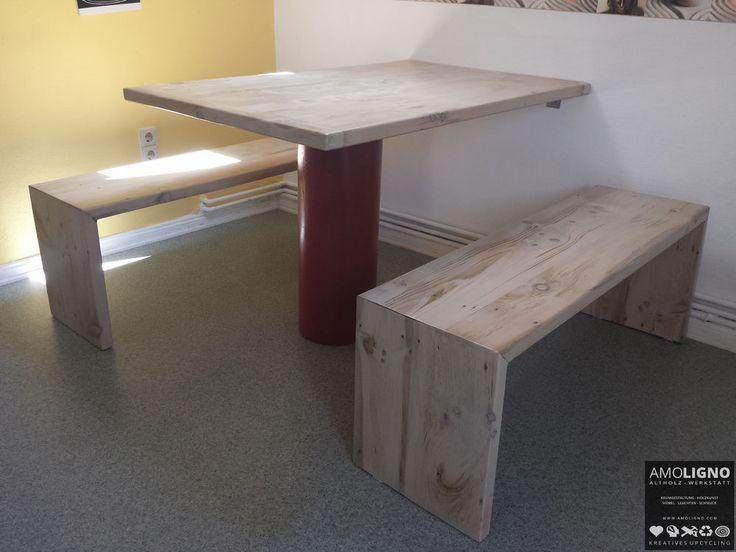 Landhaustisch mit Bänken, Altholz  Upcyling 120x80