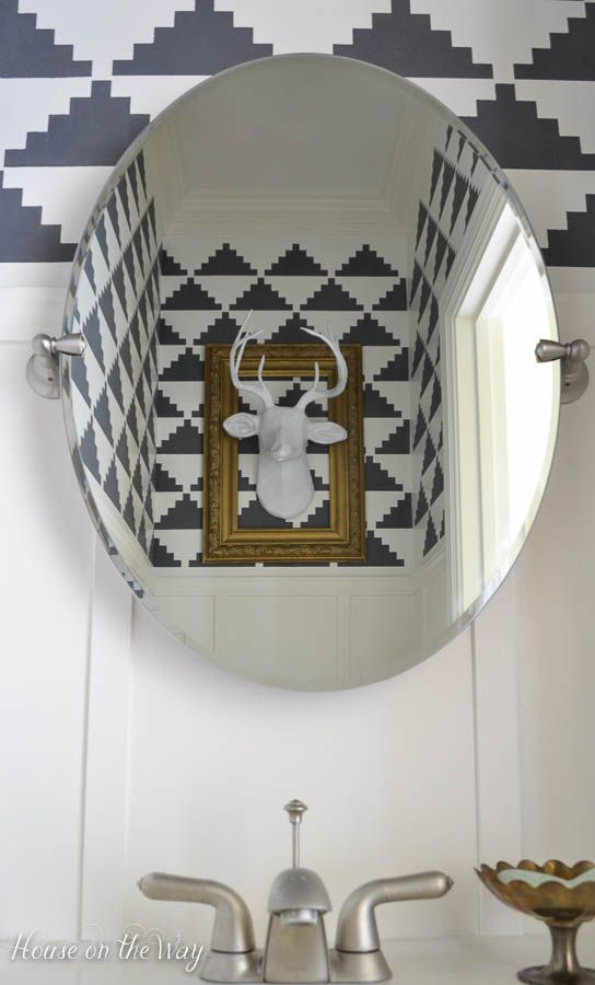 DIY black and white modern bathroom makeover with wall stencils from Royal Design Studio - via house on the way