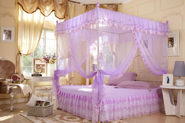 Lace Flower 4 Corners Post Bed Canopy Mosquito Net Twin Full Queen King All Size | eBay