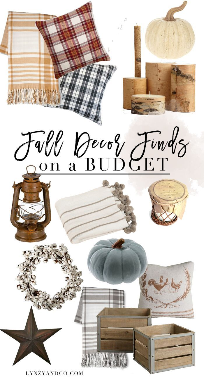 A roundup post of the best fall decor on a budget! Plaid throws, cozy pillows…