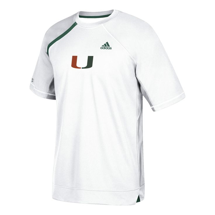 Miami Hurricanes adidas 2017 Basketball Warm Up Short Sleeve - White