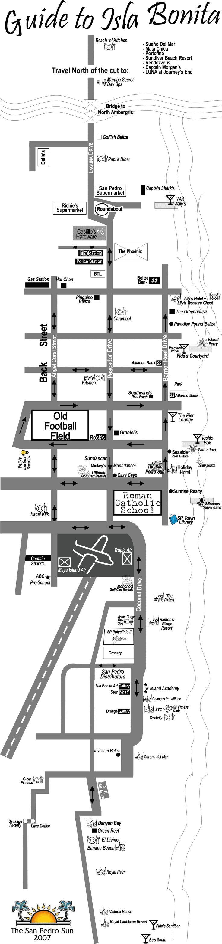 San Pedro Tourist Map - Ambergris Caye Belize • mappery