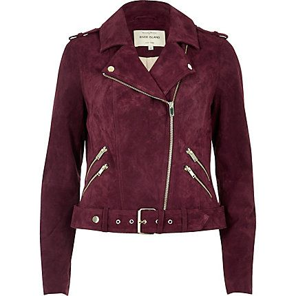 Dark red suede biker jacket £120.00