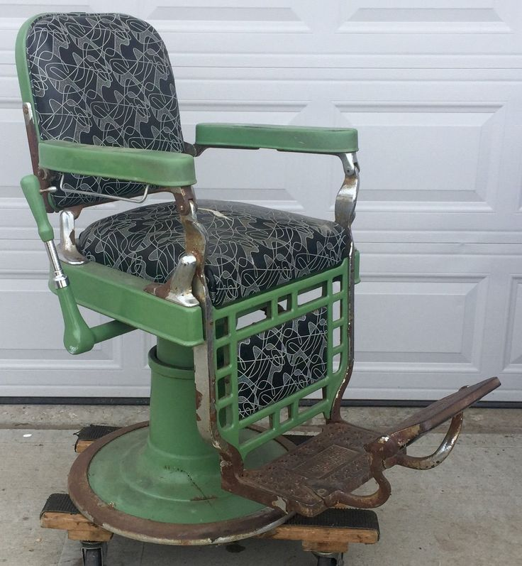 Antique Theo A Kochs Barber Shop Chair for Restoration or Parts Good Hydraulics | eBay