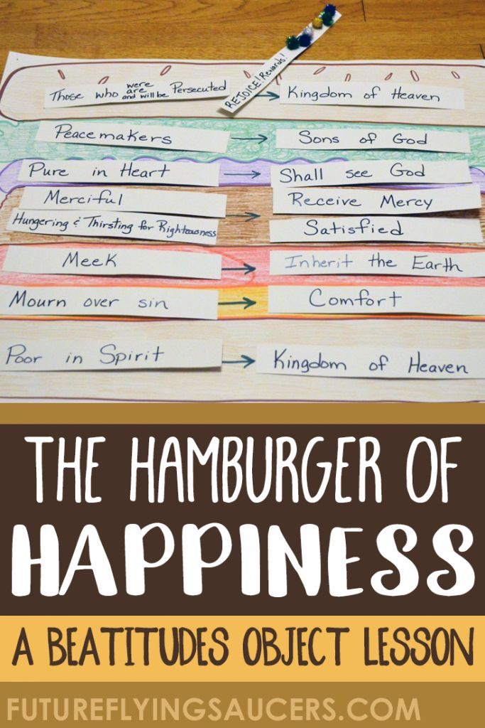 Use the image of a hamburger to teach children about the Beatitudes and how Jesus wants us to live a life that stands out from the rest of the world. ~ futureflyingsaucers.com