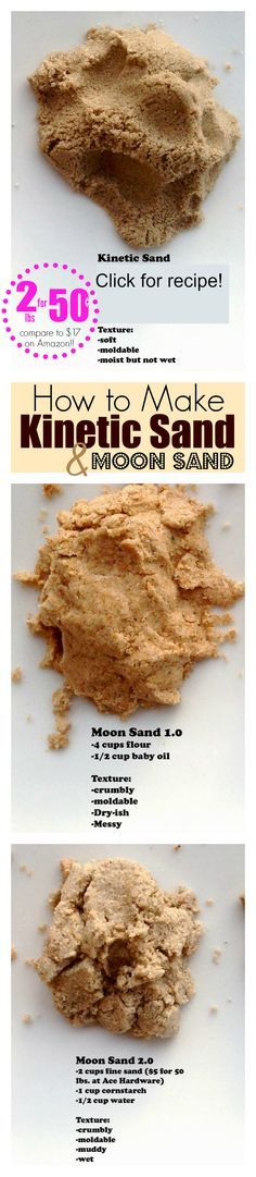 Make Your Own Kinetic Sand (10 lbs for 50 cents! compare to Amazon!) Includes step-by-step directions and instructional video. Get the super easy recipe, just click the picture. REPIN to save this! Perfect for sensory play! DIY toys!