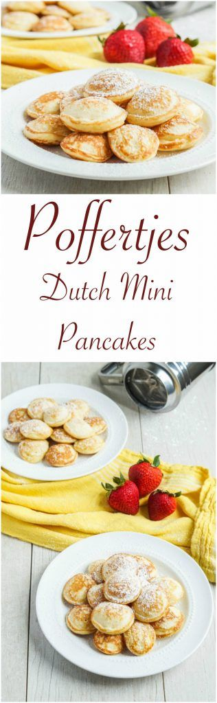 Recipe for Poffertjes- Dutch mini puffed pancakes topped simply with little pats of butter and a sprinkling of powdered sugar.