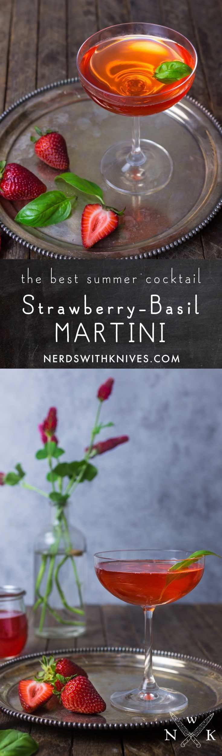 Our summer drink obsession; the Strawberry-Basil Martini is a sophisticated cocktail that pairs two of our favorite seasonal flavors.