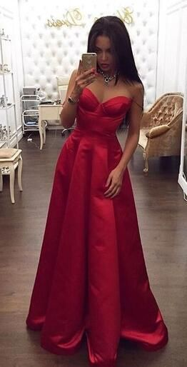 2017 prom dress, red prom dress, long prom dress, strapless prom dress, evening dress