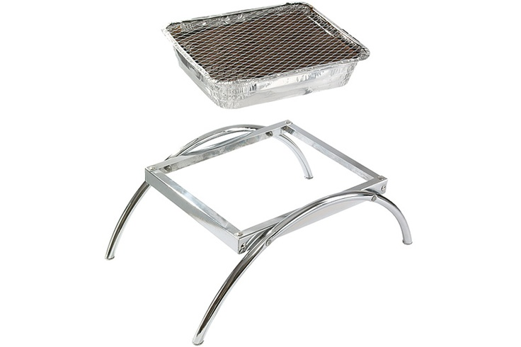Barbeques Galore  $16.95 Disposable BBQ with Stand  totally convenient - Weighing only 1.65kg, the assembled dimensions are 50cm width x 33cm depth x 17.5cm height. The stand has been made from chrome plated steel and the disposable tray is composed of foil with a steel mesh grill  Fuel / Ignition: Charcoal briquettes (included)  Disposable BBQ Weight: 900 grams  Stand Weight: 750 grams