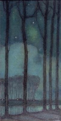 Bomenrij in maannacht Jan Mankes 1914