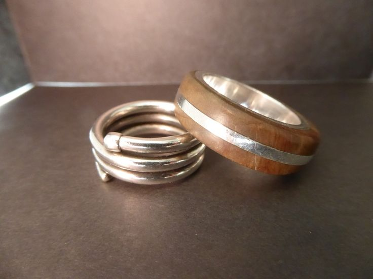 Rings   Silver and wood