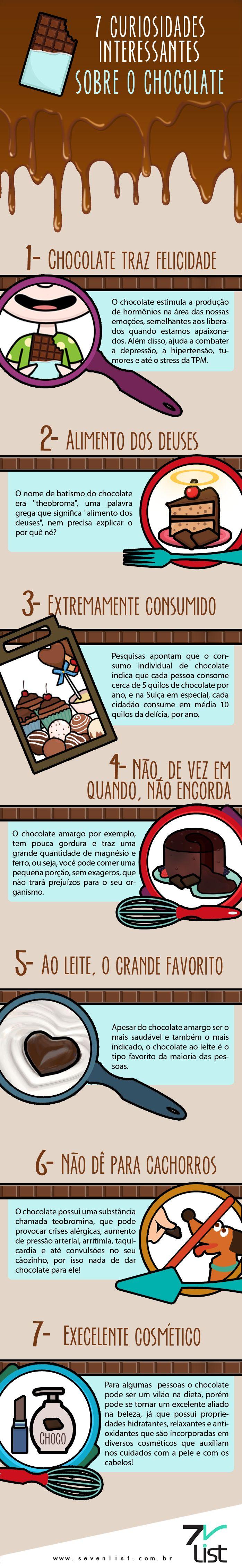 #infográfico #infographic #design #chocolate #chocólatra #delicia #doce #curiosidades #felicidade #alimento #engordar #saúde #bem-estar #aoleite #cachorro #cosmético #chocolateamargo www.sevenlist.com.br