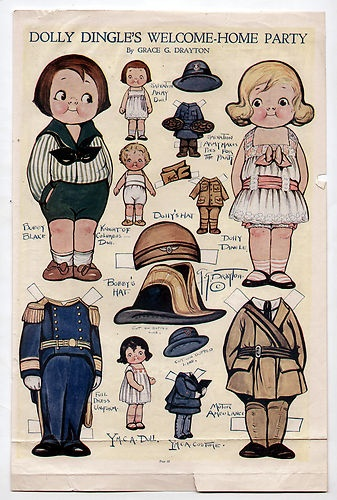 Vintage Dolly Dingle's Welcome Home Paper Dolls March 1919 WWI Ambulance Uniform