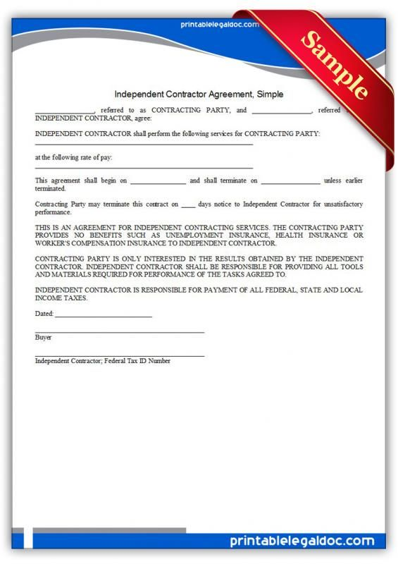 Simple Independent Contractor Agreement template Pinterest - sample contractor agreement