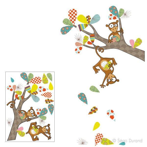 sticker singe rigolo. Sticker enfant créé par Série-Golo. Made in France.