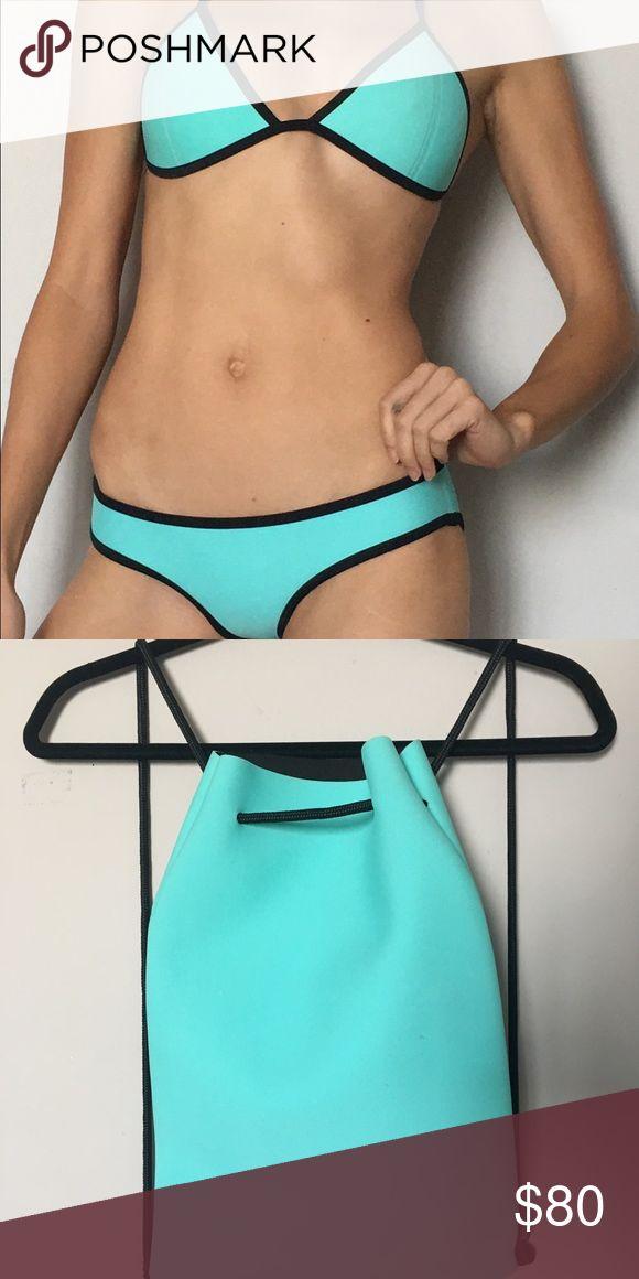 Triangl Swimwear Blue Bikini Set Baby blue with a super edgy black edge. Super cute suit comes with travel bag triangl swimwear Swim Bikinis