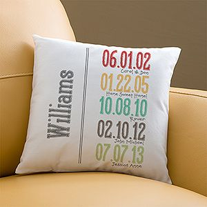 This Milestone Dates personalized pillow is such a great gift idea for Mom or Grandma! You can personalize it with important dates like birthdays, anniversaries, or whatever you want!