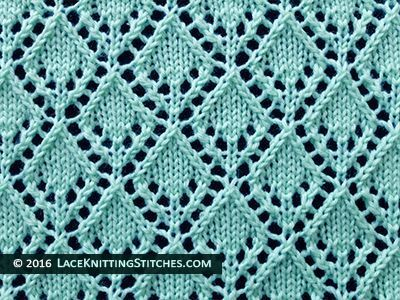 Lace knitting stitch of the Month - September 2015. #6 Openwork Diamonds stitch