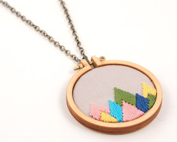 Mountain peaks embroidered necklace - yellow, pink, olive, aqua, sunshine, navy - mini embroidery hoop - made with love by dandelyne