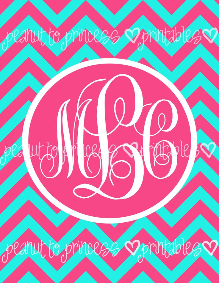 monogram binder cover printable free | SET OF 6 Binder Cover Insert Printables - Custom Chevron Monogram - 8 ...