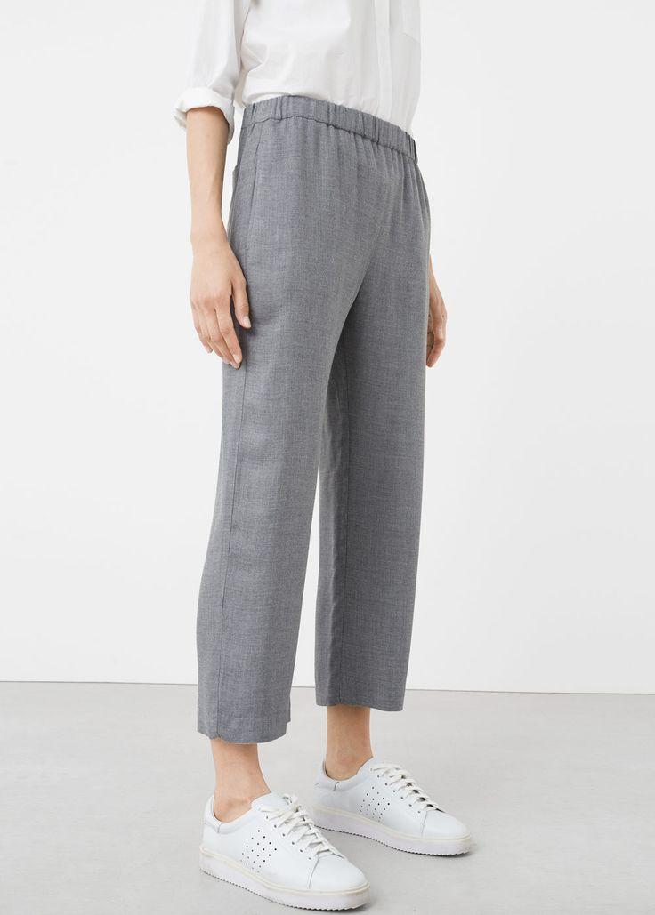 Flecked flowy trousers - Pants for Women   MANGO USA
