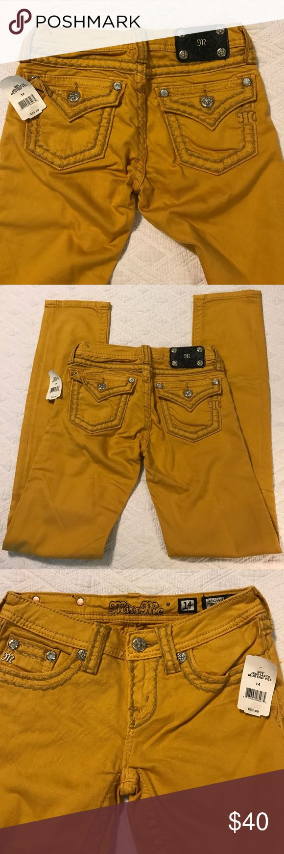 NWT Miss Me Mustard Yellow Skinny Jeans NWT Miss Me Mustard Yellow Skinny Jeans.  Inseam is approximately 30 inches.  Button closure on both back pockets.  Size 14. Miss Me Bottoms Jeans