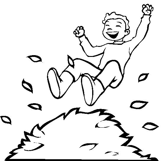 A Boy Jumping Into Pile Of Leaves Coloring Pages Autumn Or Fall KidsDrawing