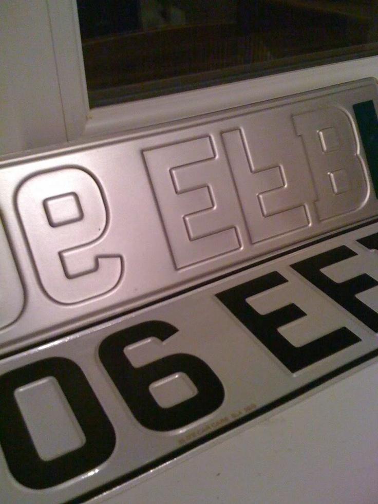 Car number plates.