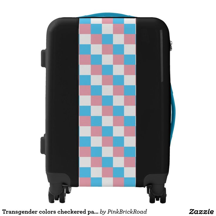 Transgender colors checkered pattern luggage
