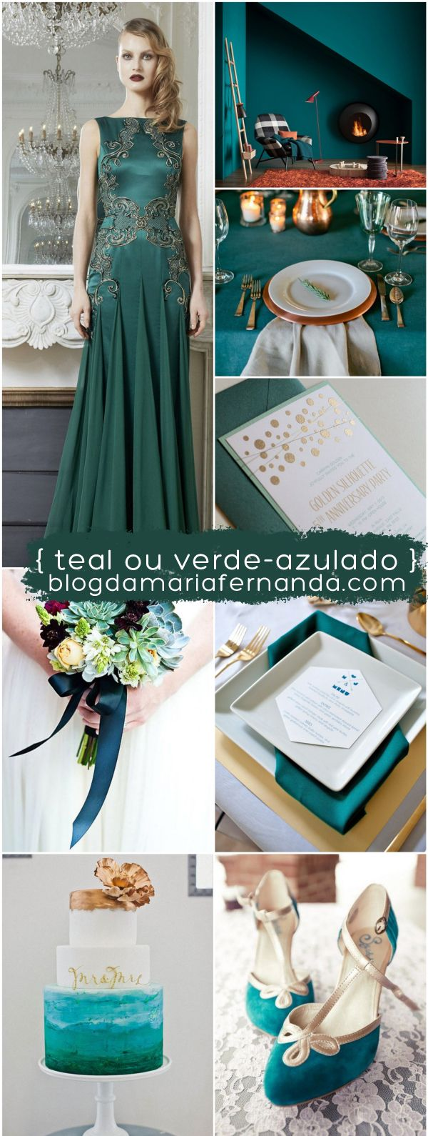 Paleta de Cores Decoração de Casamento Verde Azulado | Inspiration Board Wedding Color Palette Teal
