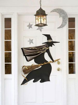 Decorate your door with a vinyl witch and Styrofoam stars - halloween decorations for your car