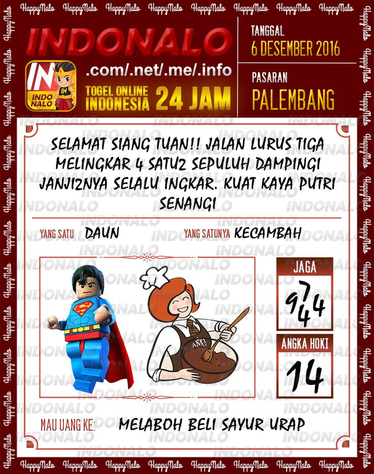 Angka Kumat 2D Togel Wap Online Live Draw 4D Indonalo Palembang 6 Desember 2016