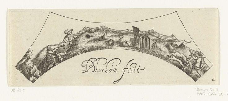 Bartholomeus van Lochom | Konijnenjacht, Bartholomeus van Lochom, Claes Jansz. Visscher (II), c. 1630 | Drie jagers en drie honden jagen op konijnen.