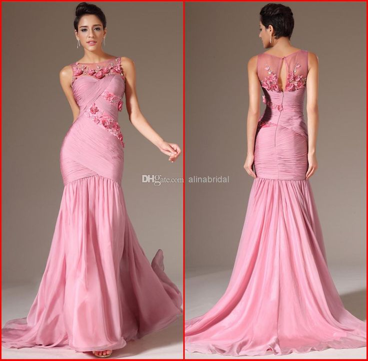 Wholesale Pink Evening Dress - Buy New 2014 Evening Dresses Pink Jewel Mermaid Sweep Train Beaded Handmade Flowers Pleats Elegant Formal Gowns Women's Party Dress AE-104, $149.0 | DHgate