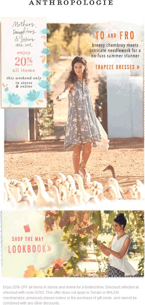 Pinned May 9th: 20% off everything at Anthropologie or online via promo code #XOXO #coupon via The #Coupons App