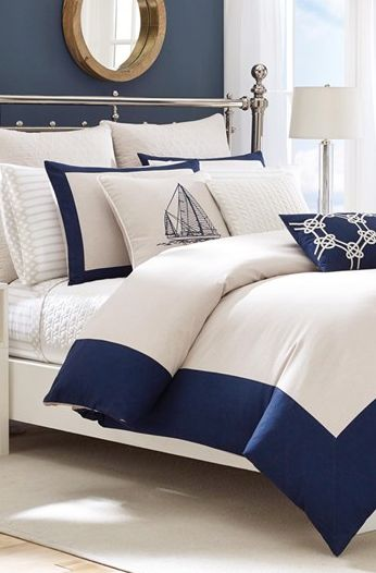 Nautica navy and ivory bed collection  http://rstyle.me/n/jqq55pdpe