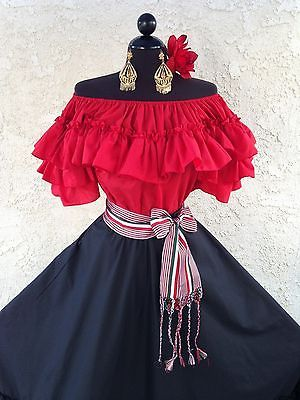 MEXICAN FIESTA,5 DE MAYO,WEDDING BLACK/RED DRESS OFF SHOULDER 2PC W/MEDIUM SASH