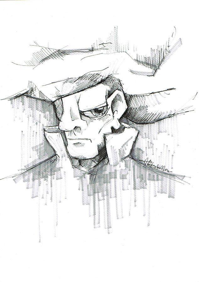 Hand drawing Face by Agnieszka Potocka, Studio Plama. Black drawing pen and grey Promarker.  Rysunek odręczny ołówkiem w oprawie - Portret 1