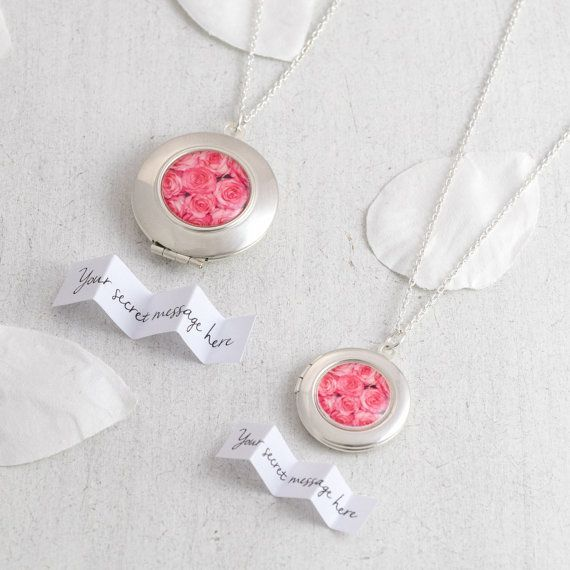 Personalised silver locket featuring a miniature photography print of pink roses