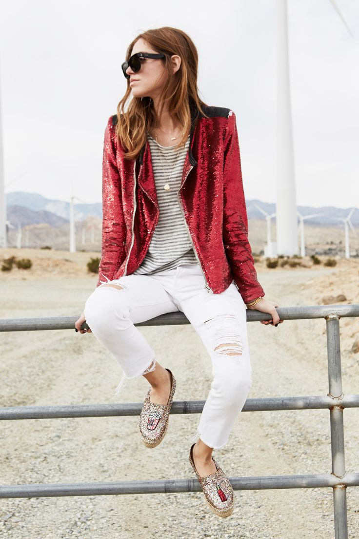 Chiara Ferragni of The Blonde Salad in a red sequin jacket, white jeans and glitter flats