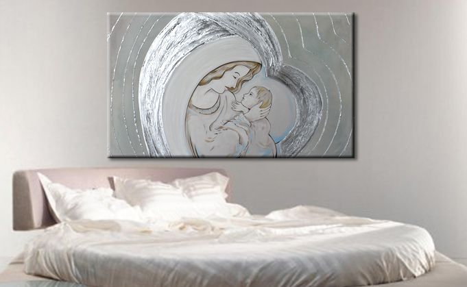 Capezzali moderni stilizzati dipinti con effetti materici ...